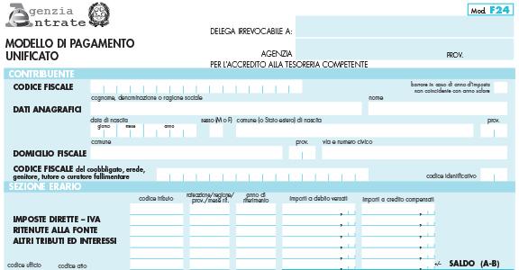 Imposte di registro e di bollo: per gli atti privati, versamenti solo con F24